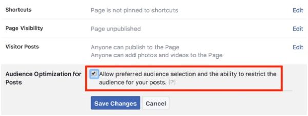 Audience Optimization for Posts'