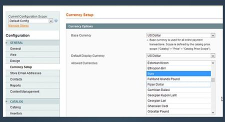 Magento Currency Set Up