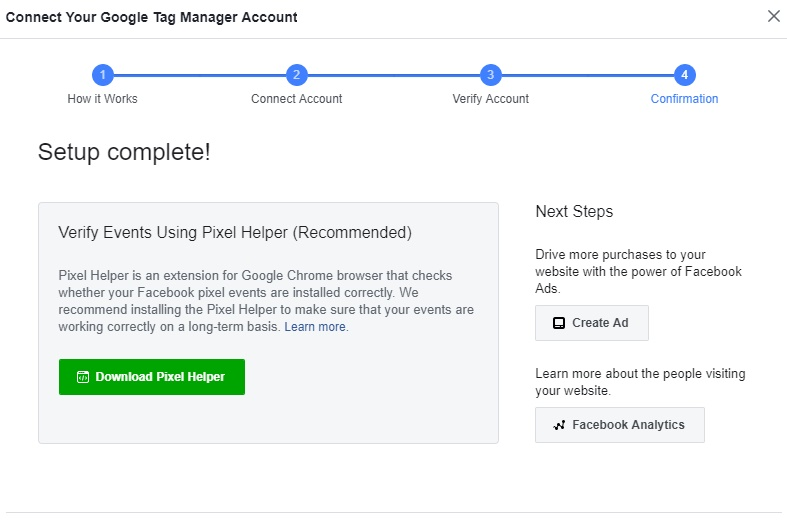 Select the Google Tag Manager account