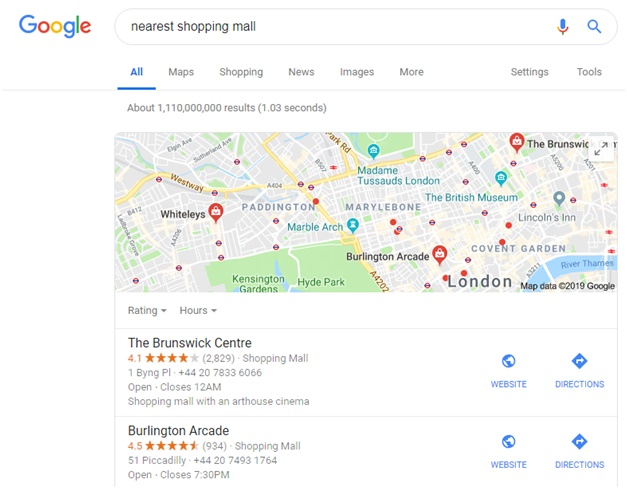 Google voice search features top local search