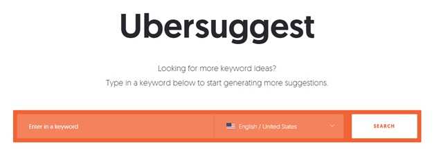 Find the long-tail keywords in Ubersuggest