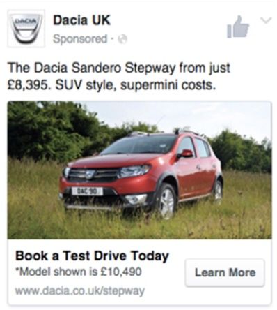 Dacia used Facebook to amplify the brand