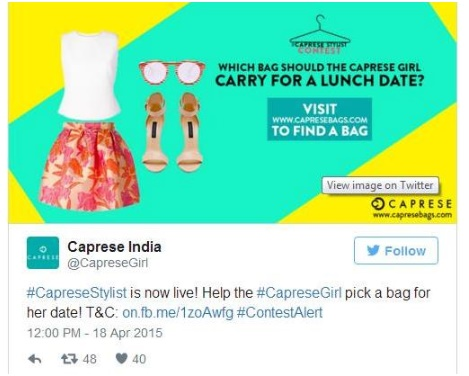 Caprese-hit social media by including a contest over Twitter