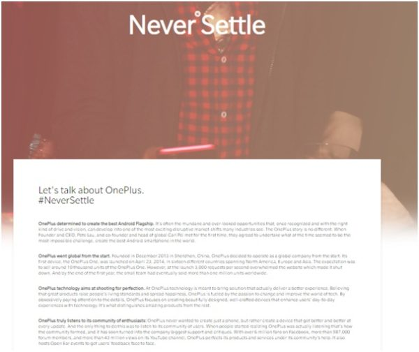 OnePlus dedicates a blog by using #NeverSettle