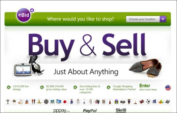 eBid is predominantly an auction site