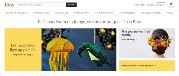 Etsy selling vintage and handmade products