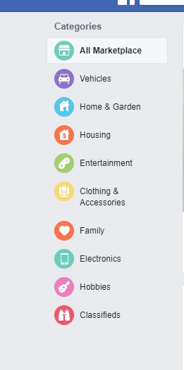 Listings on the Facebook marketplace