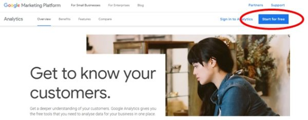 Sign in to Google Analytics account