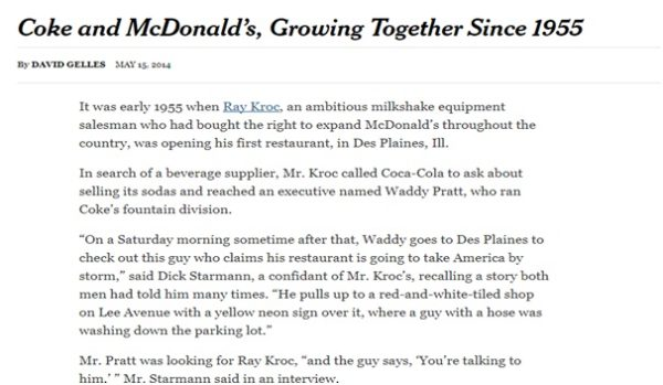 Coca Cola, McDonald's,are marketed using blog content