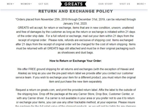 GREATS provides the return policies
