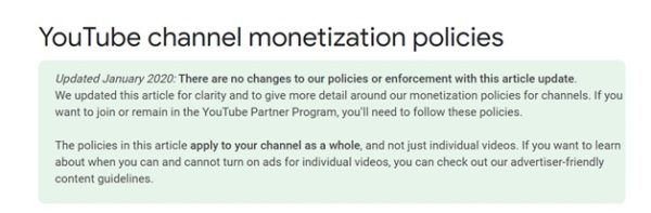 YouTube provides policy for monetization