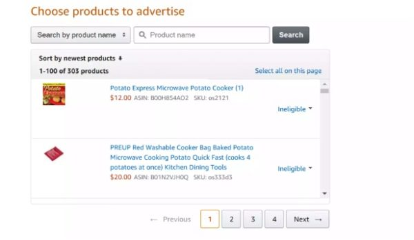 Choose the products to advertise